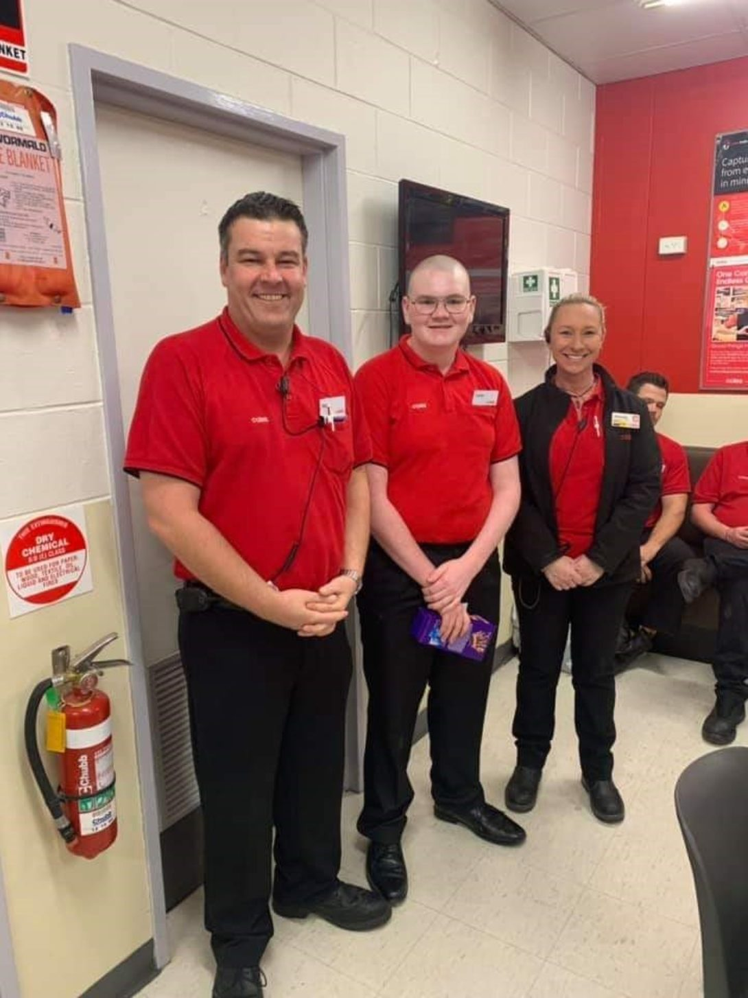 Coles employee of the month, and Castle participant, Caleb, with his employer and supervisor.
