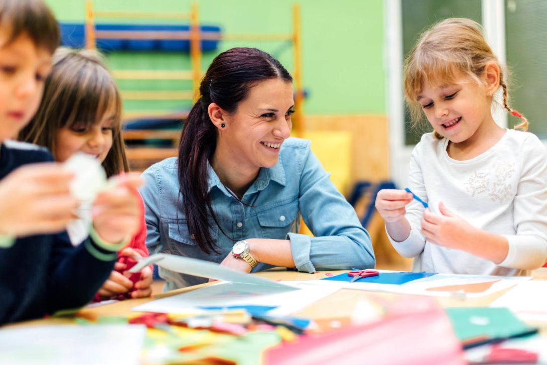 Early education teacher at work